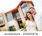 happy couple with their new... | Shutterstock . vector #103402676