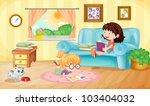 illustration of girls reading... | Shutterstock . vector #103404032