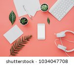 mockup of smartphone with white ... | Shutterstock . vector #1034047708