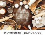 ingredients for baking and... | Shutterstock . vector #1034047798