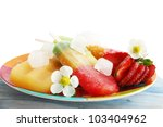 Frozen fruit juice with mint and strawberries - stock photo
