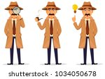 detective in hat and coat. set... | Shutterstock .eps vector #1034050678