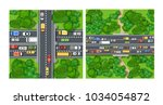 top view from above on highway... | Shutterstock .eps vector #1034054872