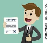 businessman holding a contract... | Shutterstock .eps vector #1034063722