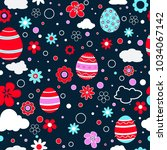 seamless pattern with easter...   Shutterstock .eps vector #1034067142