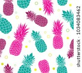 vector green pink pineapples... | Shutterstock .eps vector #1034083462