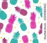 vector green pink pineapples... | Shutterstock .eps vector #1034083462