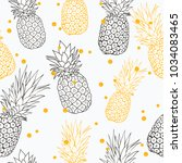 vector yellow grey pineapple... | Shutterstock .eps vector #1034083465