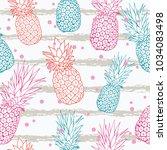 vector pineapple on grunge... | Shutterstock .eps vector #1034083498