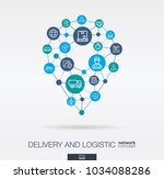 logistic integrated thin line... | Shutterstock .eps vector #1034088286