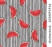 water melon seamless pattern... | Shutterstock . vector #1034091916