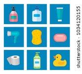 cosmetic bathroom bottles of...   Shutterstock .eps vector #1034120155