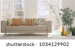 white room with sofa and winter ... | Shutterstock . vector #1034129902