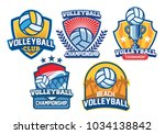 volleyball badge design set | Shutterstock .eps vector #1034138842