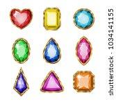 colored gemstones set in gold.... | Shutterstock .eps vector #1034141155