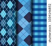 Blue Set Of Tartan Checkered...