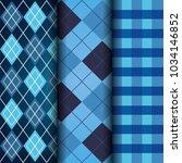 blue set of tartan checkered...   Shutterstock .eps vector #1034146852
