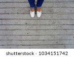 Selfie Of Woman Feet  Wear...
