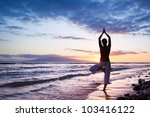 silhouette of a beautiful yoga... | Shutterstock . vector #103416122