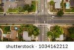 ariel drone view of suburban... | Shutterstock . vector #1034162212