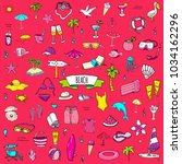 hand drawn doodle beach set... | Shutterstock .eps vector #1034162296