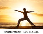 silhouette of a beautiful yoga... | Shutterstock . vector #103416236