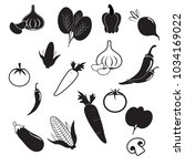 vegetables icon collection  ... | Shutterstock .eps vector #1034169022