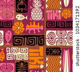 seamless exotic tiki pattern.... | Shutterstock .eps vector #1034171392