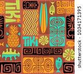 seamless exotic tiki pattern.... | Shutterstock .eps vector #1034171395