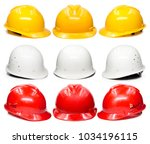 yellow hard hat safety helmet... | Shutterstock . vector #1034196115
