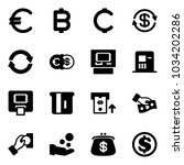 solid vector icon set   euro... | Shutterstock .eps vector #1034202286
