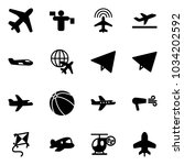 solid vector icon set   plane... | Shutterstock .eps vector #1034202592