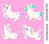 cute unicorn illustration set | Shutterstock .eps vector #1034208745