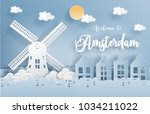 paper art with amsterdam city ... | Shutterstock .eps vector #1034211022