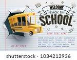 paper art of school bus jumping ...   Shutterstock .eps vector #1034212936