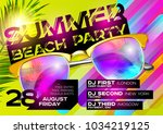 summer beach party poster for... | Shutterstock .eps vector #1034219125