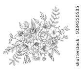 vintage vector floral... | Shutterstock .eps vector #1034220535