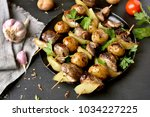 grilled chicken liver  potato... | Shutterstock . vector #1034227225
