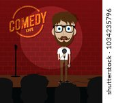 stand up comedy comic guy on... | Shutterstock .eps vector #1034235796