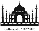Taj-mahal temple silhouette. Vector - stock vector