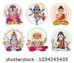 indian god vector hinduism... | Shutterstock .eps vector #1034245435