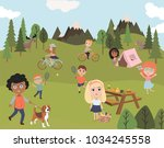 summer picnic in meadow with... | Shutterstock .eps vector #1034245558