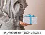 closeup of nicely wrapped in... | Shutterstock . vector #1034246386