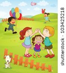 illustration of kids playing in ... | Shutterstock . vector #103425218