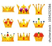 set royal golden crowns with... | Shutterstock .eps vector #1034252386