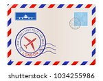 envelope with welcome to london ... | Shutterstock . vector #1034255986