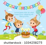 birthday party with children | Shutterstock .eps vector #1034258275