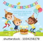 birthday party with kids | Shutterstock .eps vector #1034258278