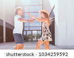 loving young couple meeting... | Shutterstock . vector #1034259592