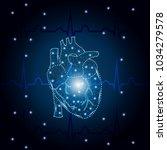 polygonal human heart in low... | Shutterstock .eps vector #1034279578